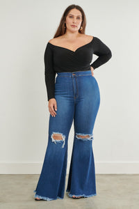 Blue Eclipse Bell Bottom Jeans - EnChantes Closet Plus Size Boutique