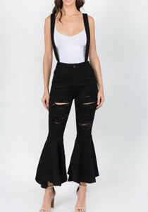 Suspender Jeans In Black - EnChantes Closet Plus Size Boutique
