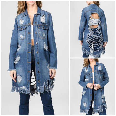 In Distressed Plus Denim Jacket - EnChantes Closet Plus Size Boutique
