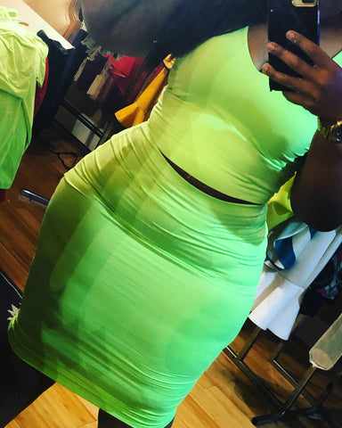Neon Green Skirt Set in Plus