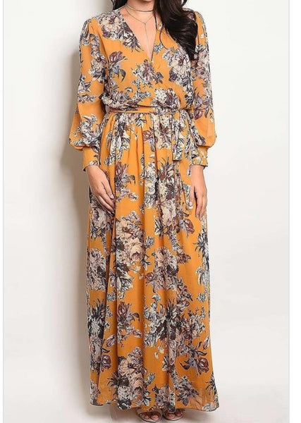 Mustard Chloe Maxi Dress in Plus