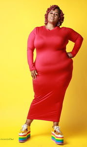 Simply Fierce Dress In Red - EnChantes Closet Plus Size Boutique
