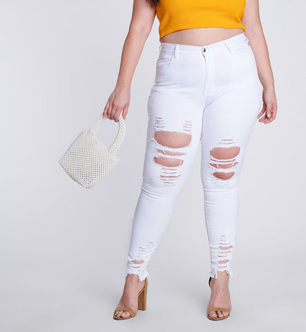 Shredded White Jeans - EnChantes Closet Plus Size Boutique