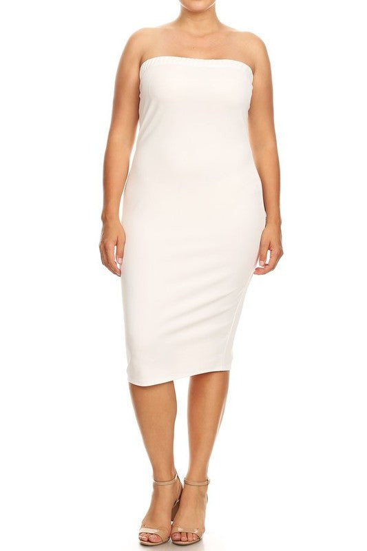 White Tube Dress - EnChantes Closet Plus Size Boutique