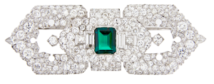 Art Deco emerald and diamond pin