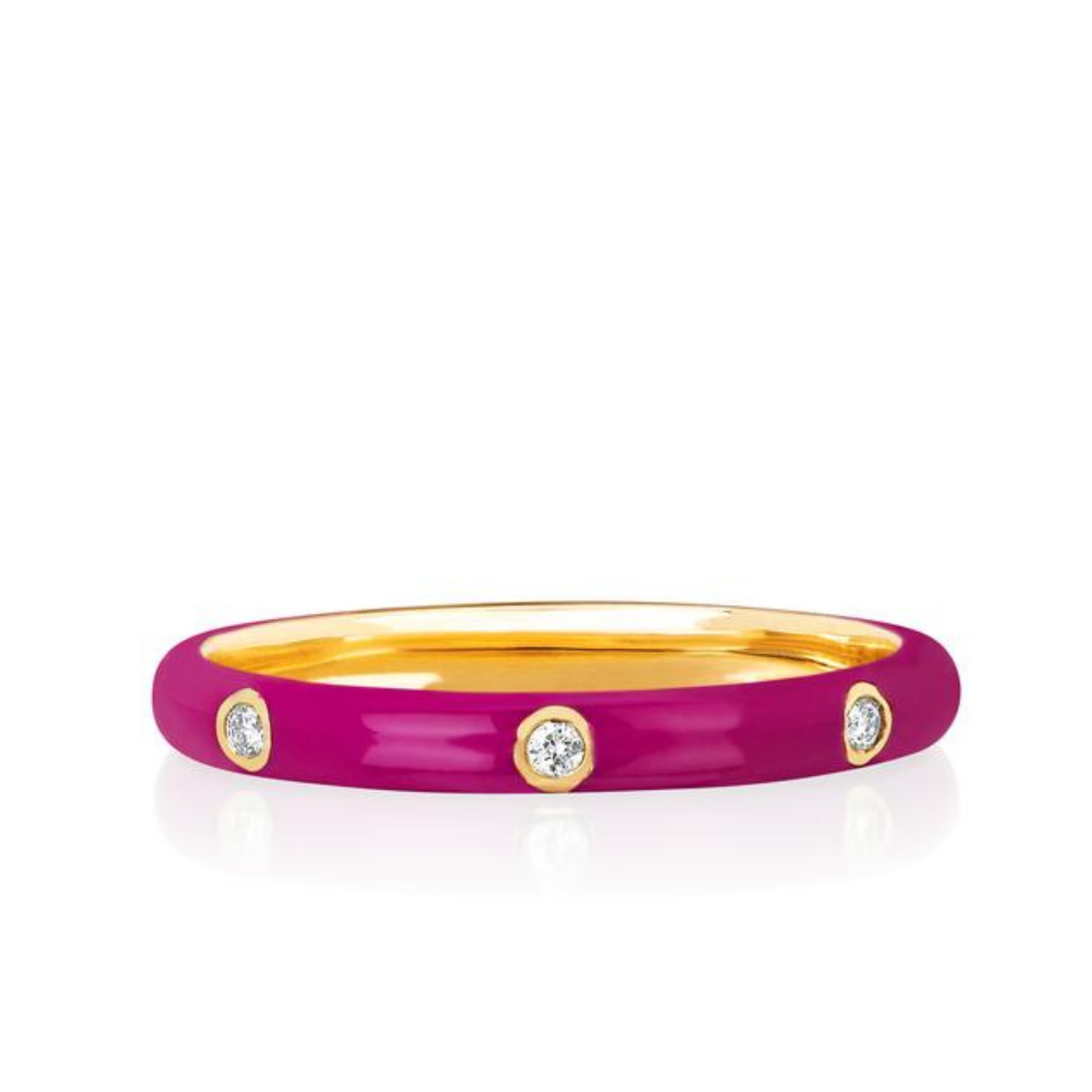 EF Collection 14K Yellow Gold Berry Enamel Diamond Stacking Ring