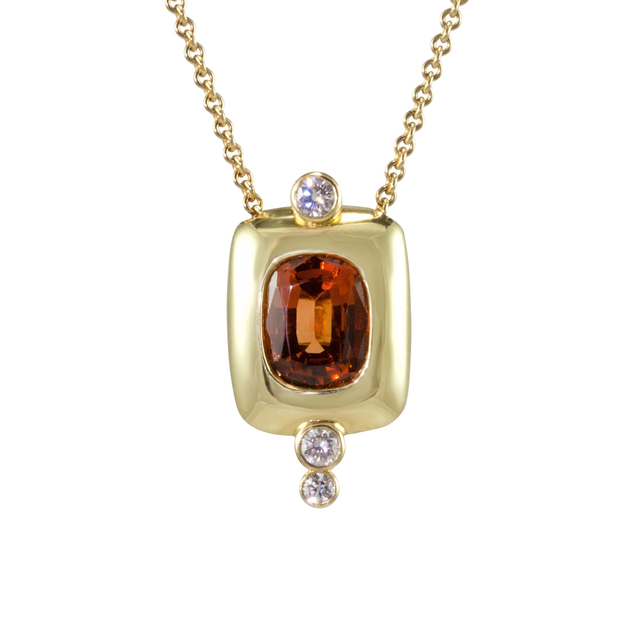 Jon Anderson 18K Yellow Gold Cushion Malaya Garnet and Diamond Pendant
