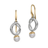 Ed Levin Sterling Silver and 14K Yellow Gold Knot Dangle Earrings With Pearl Accents