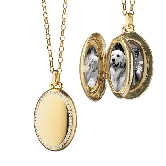 Monica Rich Kosann 18K Yellow Gold High Polish Diamond Oval Locket on 32-Inch Belcher Chain