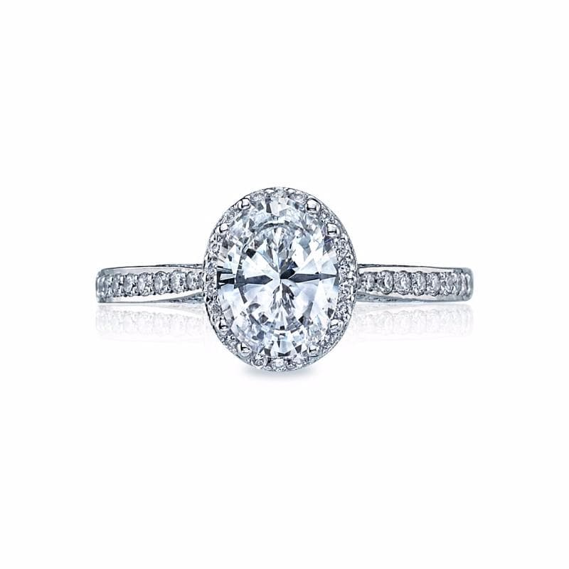 18K White Gold Halo with Pave 1/2 Around 0.30ct Diamond Ring