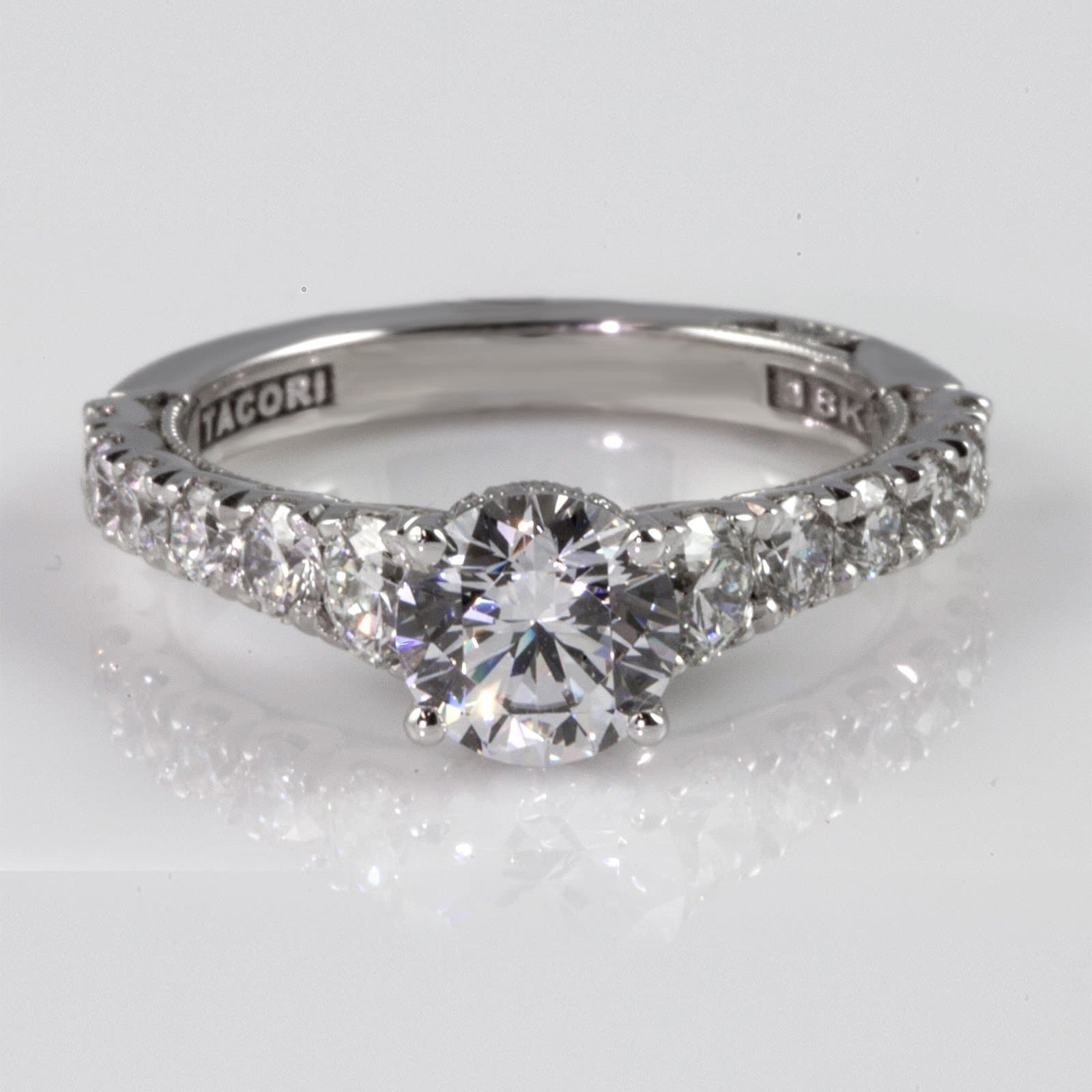 18K White Gold 4-Prong; Graduating Round Diamond Shoulder 1/2 Around 1.05ct Diamond Ring