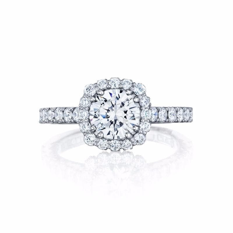 18K White Gold Round Diamond Halo and Shoulder 1/2 Around 0.77ct Diamond Ring