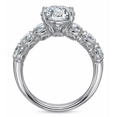 Precision Set 14K White Gold 4-Prong SilkFit Semi-Mount Ring With 6 Round Brilliant Diamonds, 1.20ct (Setting Only)