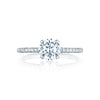 18 Karat White Gold Tacori Petite Crescent Semi-Mount Diamond Accent Ring (Setting Only)