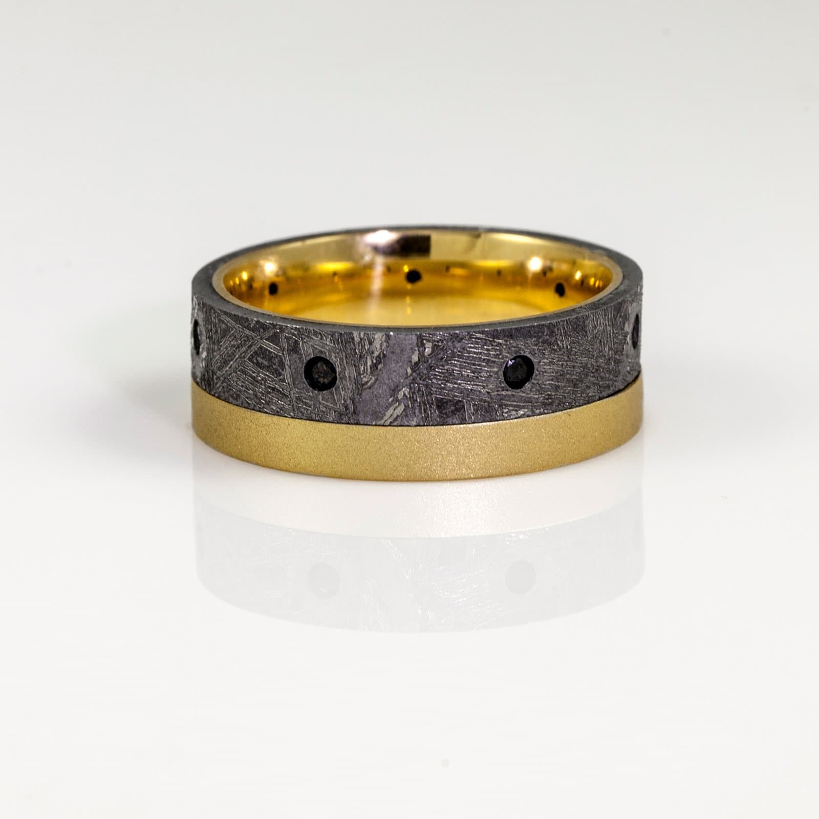 18K Yellow Gold Beadblast Meteorite and Flush Set Black Diamond Wedding Band