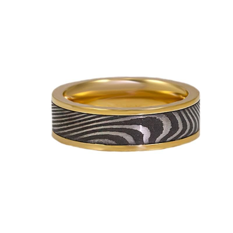18 Karat Yellow Gold Acid Washed Tiger Wedding Band, Channel and Polished Flat Edges, Lashbrook