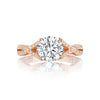 18 Karat Rose Gold Tacori Semi-Mount Braided Pave Shoulder Diamond Ring (Setting Only)