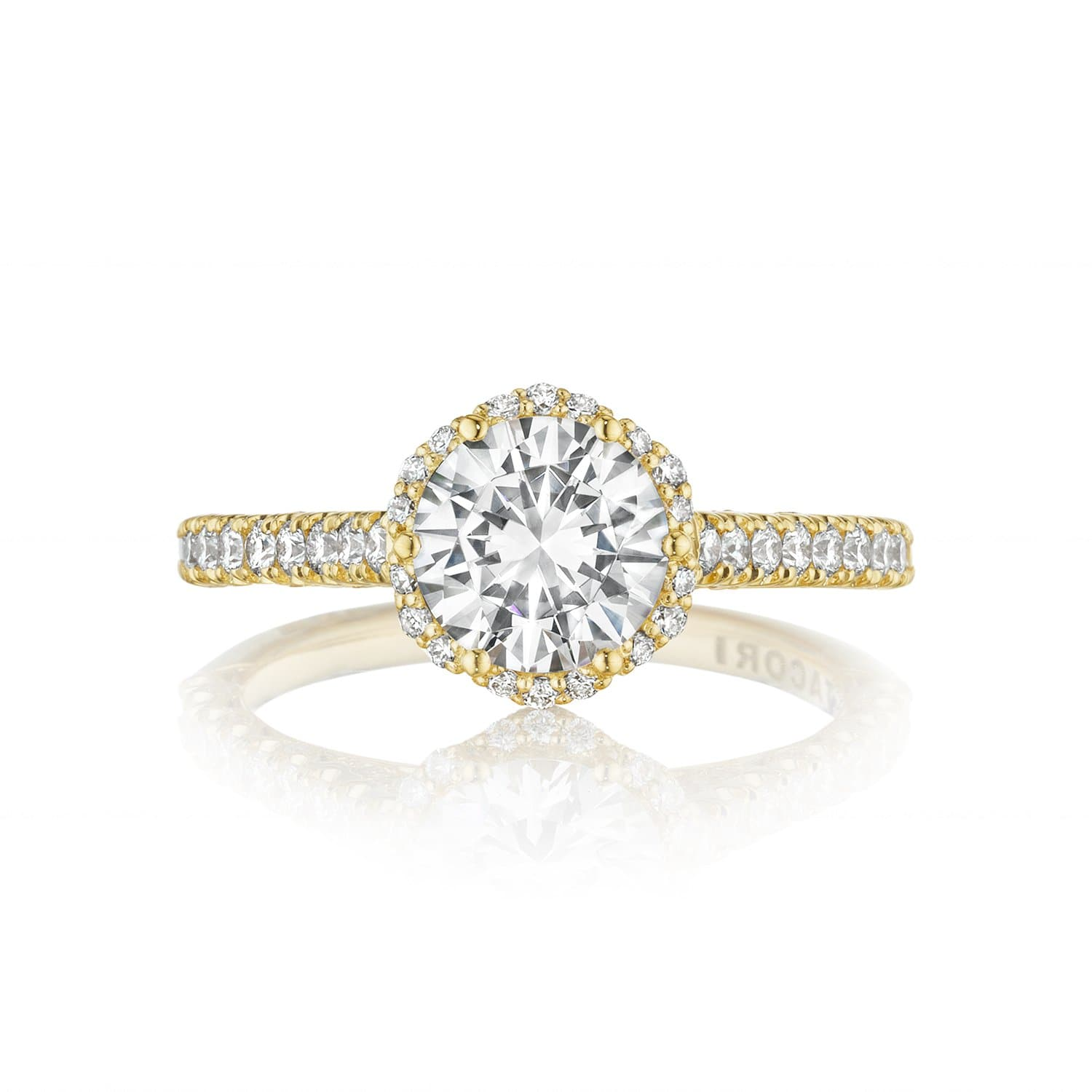 18 Karat Yellow Gold Tacori Petite Crescent Semi-Mount Diamond Ring (Setting Only)