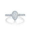 18 Karat White Gold Tacori Dantela Collection Semi-Mount Diamond Engagement Ring (Setting Only)