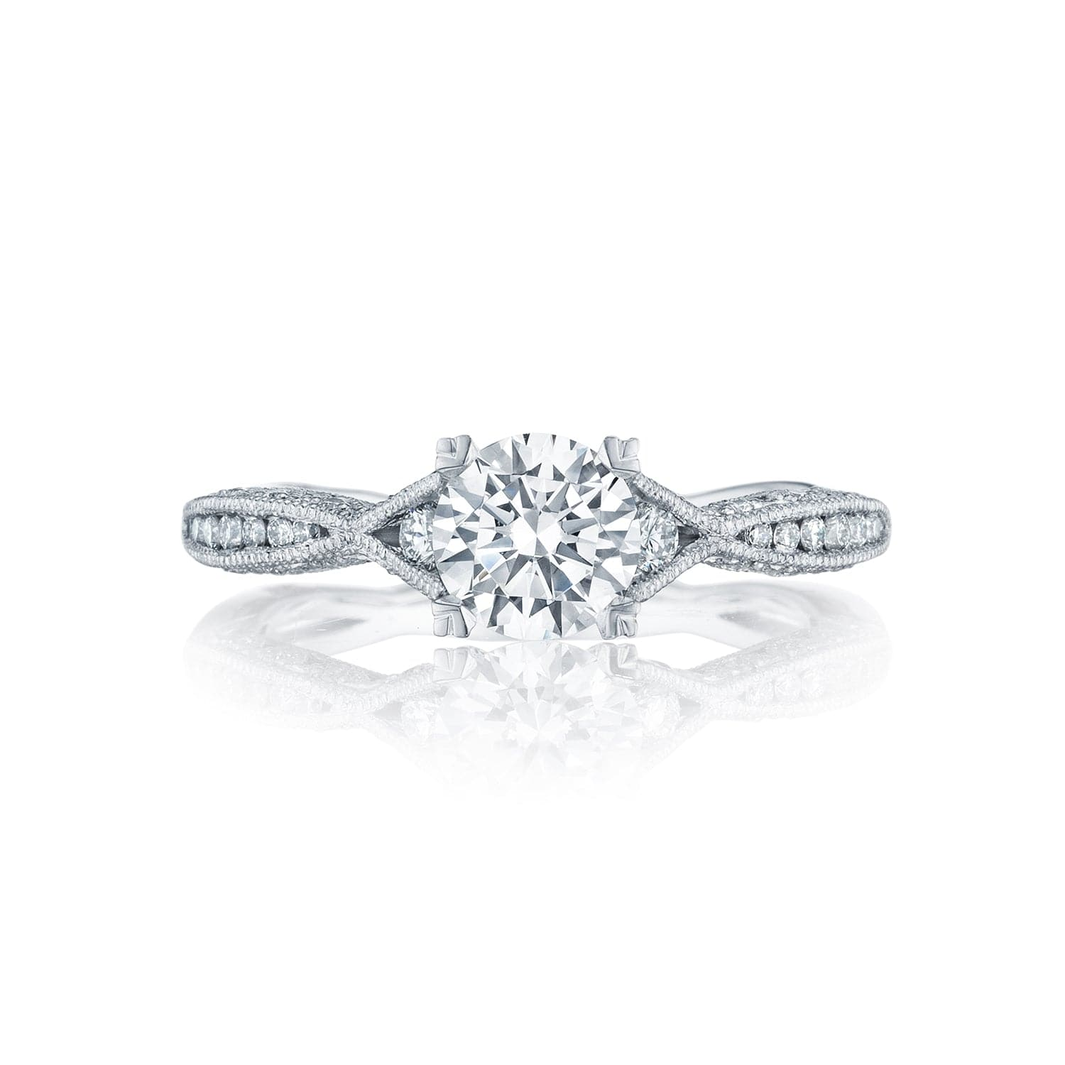 Tacori Platinum Classic Crescent Diamond Semi-Mount Ring (Setting Only)