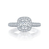18 Karat White Gold Semi-Mount Diamond Halo Ring (Setting Only)