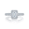 Tacori Platinum Classic Crescent Halo Diamond Semi-Mount Ring (Setting Only)
