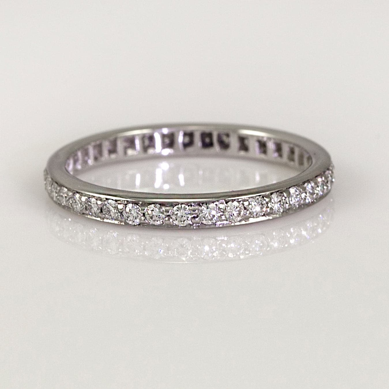 Mark Patterson Platinum Bead-Set Diamond Accent Eternity Band