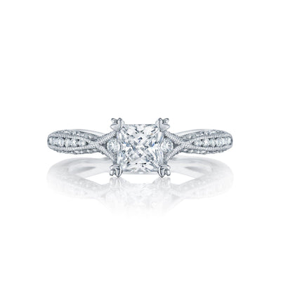 18 Karat White Gold Tacori Classic Crescent Semi-Mount Diamond Ring (Setting Only)
