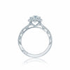 Platinum Tacori Reverse Crescent Semi-Mount Diamond Ring With Tapered Milgrain Shoulder (Setting Only)