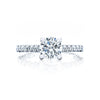 18 Karat White Gold Tacori 4-Prong Diamond Bezel Shoulder Semi-Mount Ring (Setting Only)