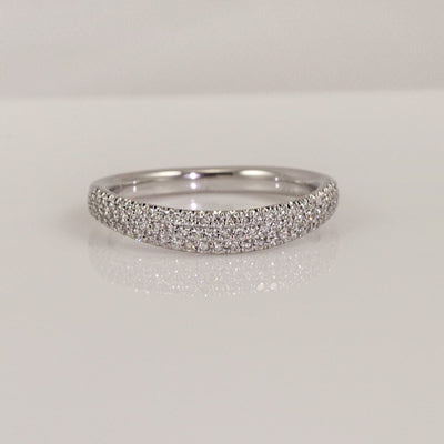 Precision Set 14K White Gold Classic Modern Pave Diamond Wedding Band With 79 Round Brilliant Diamonds, 0.32ct
