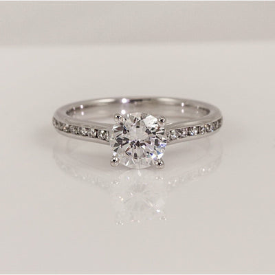 Precision Set 14K White Gold New Aire Channel-Set 4-Prong Diamond Semi-Mount Ring With 18 Round Brilliant Diamonds, 0.21ct (Setting Only)