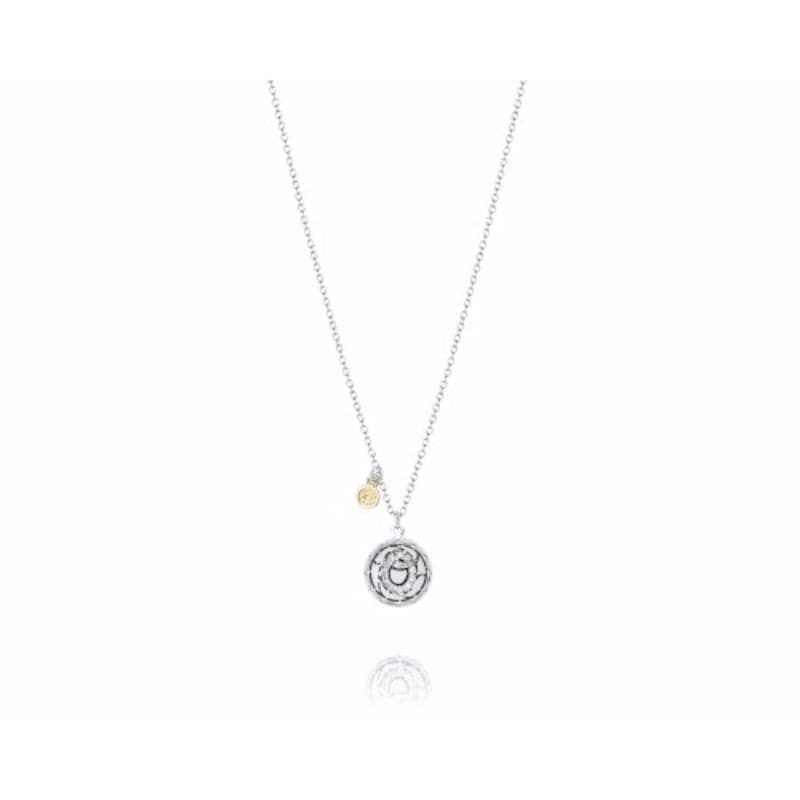 Sterling Silver and 18K Yellow Gold Diamond 'o' Sandblast Initial Charm 18in Necklace