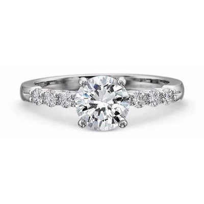 Precision Set Platinum Diamond Semi-Mount Ring With 8 Round Brilliant Diamonds, 0.30ct (Setting Only)
