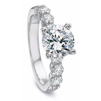 Precision Set Platinum Diamond Semi-Mount Ring With 6 Round Brilliant Diamonds, 0.55ct (Setting Only)