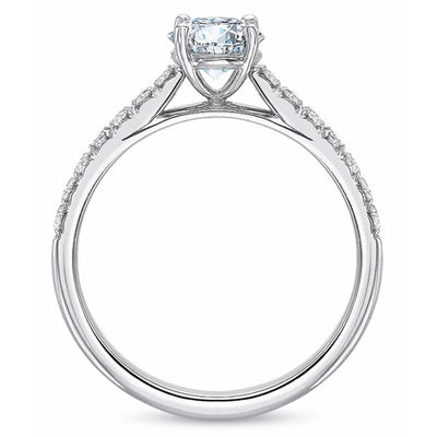 Precision Set Platinum New Aire Diamond Accent Semi-Mount Ring With 14 Round Brilliant Diamonds, 0.22ct (Setting Only)