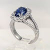 Platinum Cushion-Cut Sapphire and Diamond Halo Ring