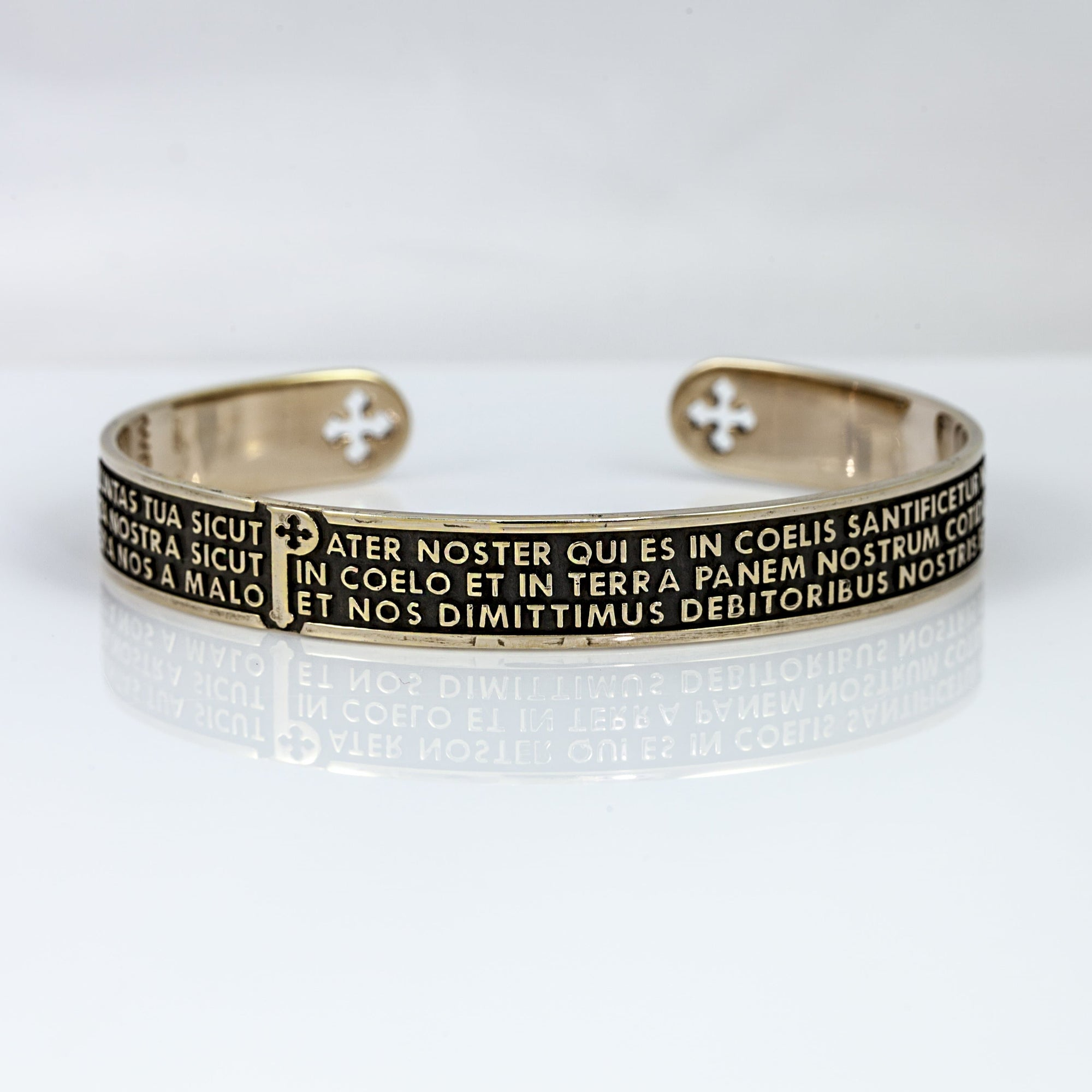 Tuum Origine Bronzed Sterling Silver Cuff Bracelet With 'Our Father' Prayer in Latin, Medium