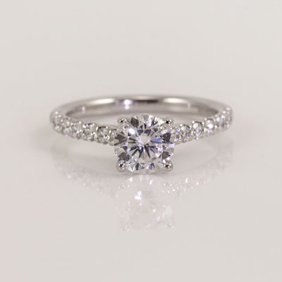 Precision Set 18K White Gold Bead-Set Round Brilliant Diamond Semi-Mount Ring, 0.36ct (Setting Only)