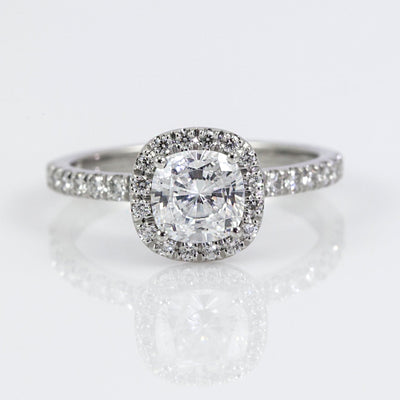 Mark Patterson Platinum Cushion Diamond Halo and Diamond Accent Semi-Mount Engagement Ring (Setting Only)