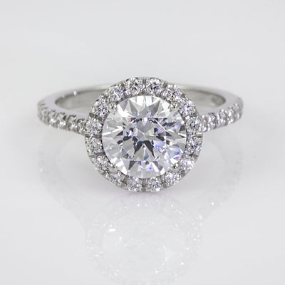 Mark Patterson Platinum Shared Prong Diamond Halo Semi-Mount Engagement Ring (Setting Only)