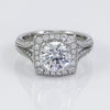 Mark Patterson Platinum Split Shoulder Diamond Halo Semi-Mount Engagement Ring With Accent Diamonds (Setting Only)