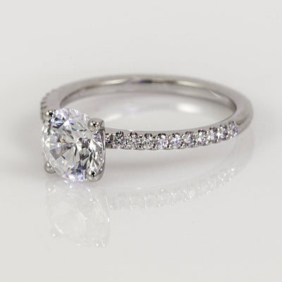 Mark Patterson Platinum Bead-Set Round Brilliant Diamond Accent Engagement Ring (Setting Only)