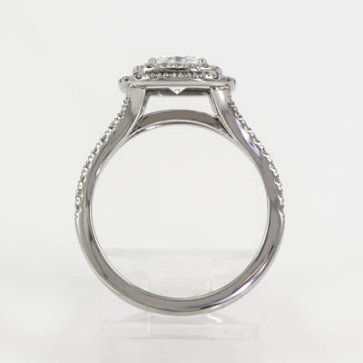 Mark Patterson Platinum Split Shoulder Diamond Double Halo Semi-Mount Engagement Ring (Setting Only)