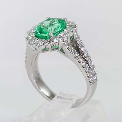 Platinum Diamond Halo and Tourmaline Ring