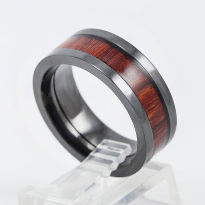 Lashbrook Designs Black Zirconium and Hardwood 8MM Wedding Band