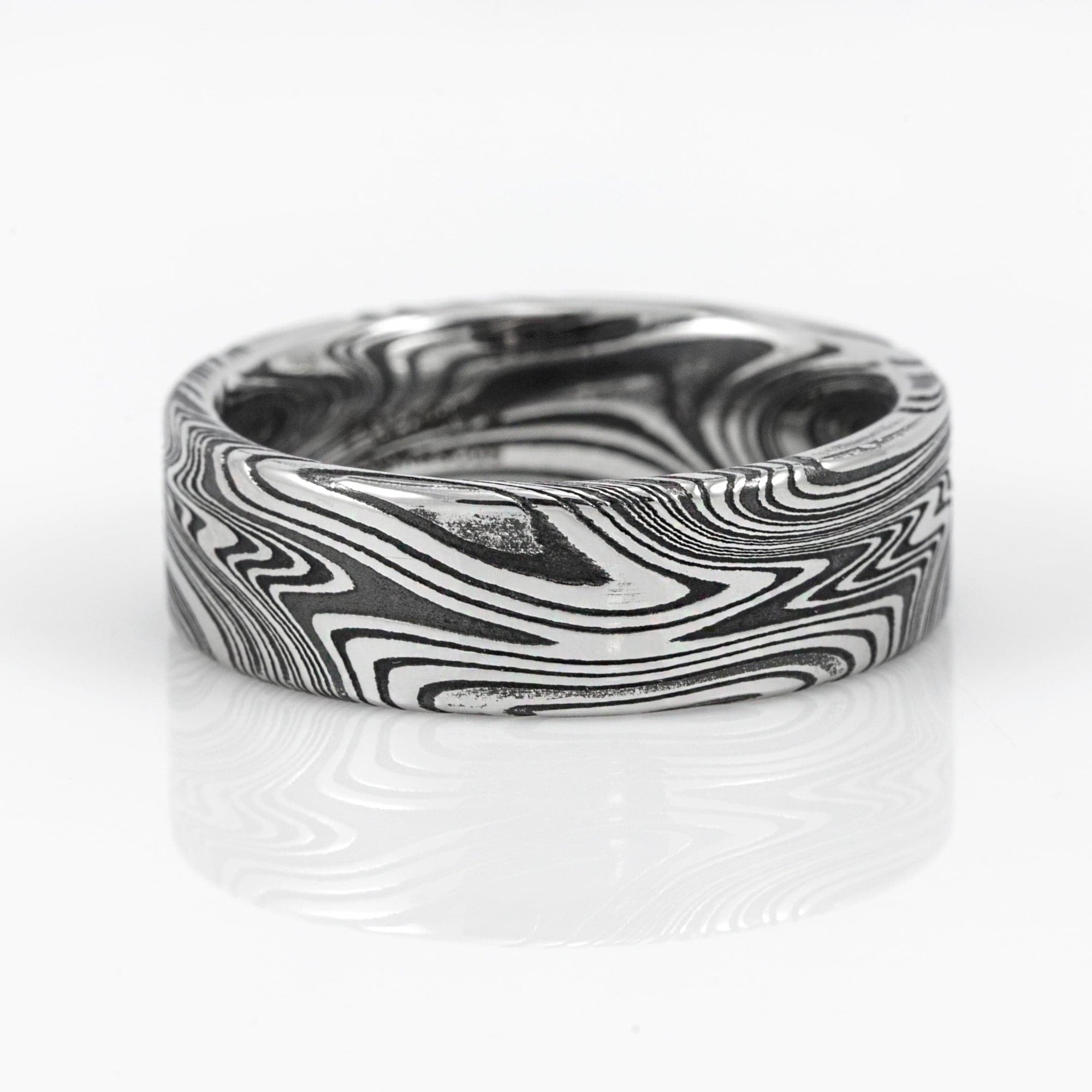 Lashbrook Designs Marbled Damascus Steel 7MM Wedding Band