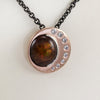 Brian Keeney Design 14K Rose Gold & Platinum Pendant with Fire Agate and Diamonds