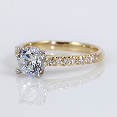 Precision Set 18K Yellow Gold New Aire Semi-Mount Diamond Engagement Ring With Accents (Setting Only)