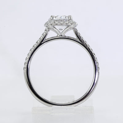 18K White Gold Diamond Halo Engagement Ring (Setting Only)